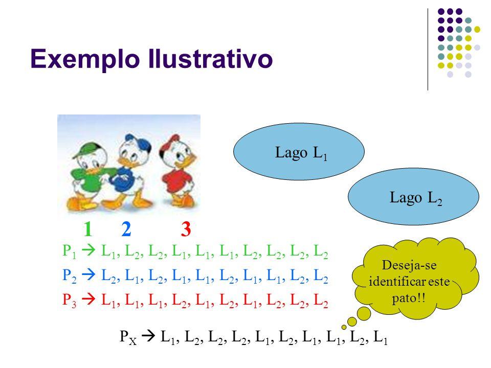 Exemplo Ilustrativo 1 2 3 Lago L 1 Lago L 2 P 1  L 1, L 2, L 2, L 1, L 1, L 1, L 2, L 2, L 2, L 2 P 2  L 2, L 1, L 2, L 1, L 1, L 2, L 1, L 1, L 2, L 2 P 3  L 1, L 1, L 1, L 2, L 1, L 2, L 1, L 2, L 2, L 2 P X  L 1, L 2, L 2, L 2, L 1, L 2, L 1, L 1, L 2, L 1 Deseja-se identificar este pato!!