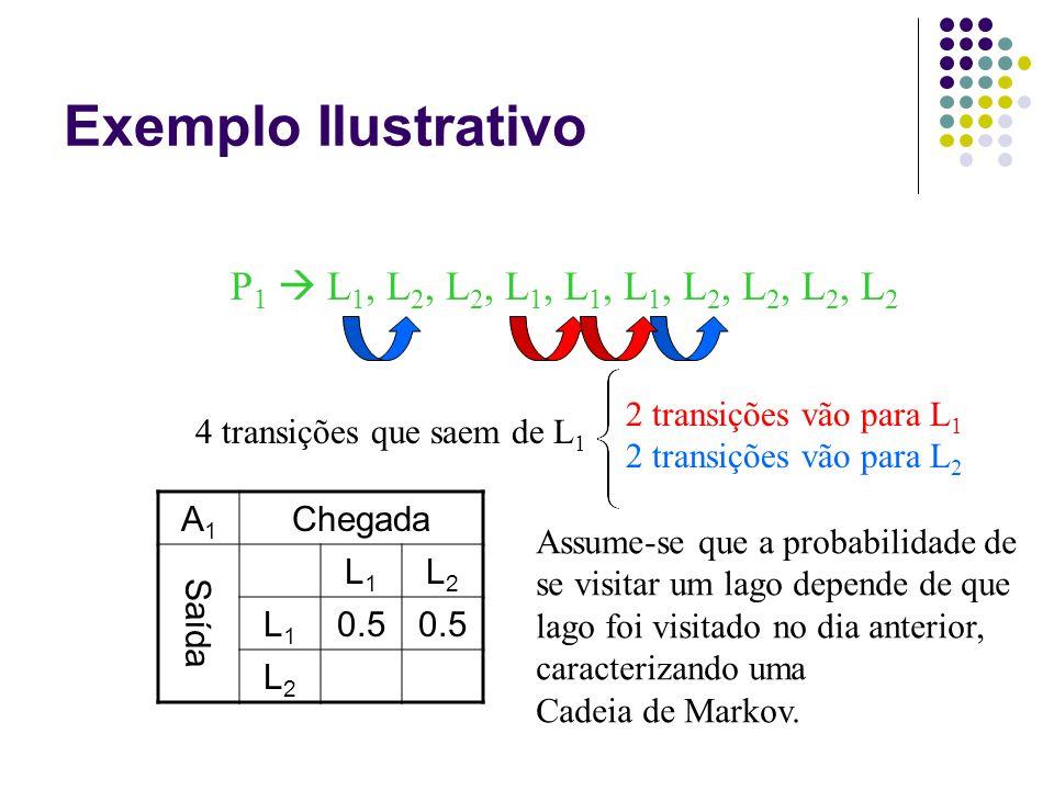 Exemplo Ilustrativo P 1  L 1, L 2, L 2, L 1, L 1, L 1, L 2, L 2, L 2, L 2 4 transições que saem de L 1 2 transições vão para L 1 2 transições vão para L 2 A1A1 Chegada Saída L1L1 L2L2 L1L1 0.5 L2L2 Assume-se que a probabilidade de se visitar um lago depende de que lago foi visitado no dia anterior, caracterizando uma Cadeia de Markov.