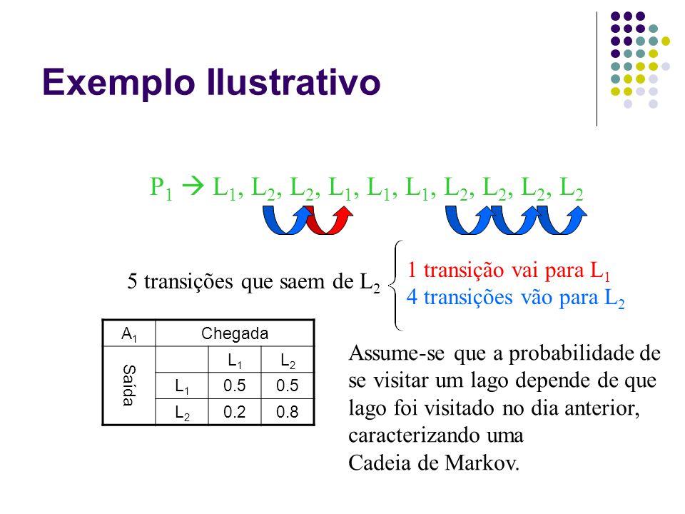 Exemplo Ilustrativo P 1  L 1, L 2, L 2, L 1, L 1, L 1, L 2, L 2, L 2, L 2 A1A1 Chegada Saída L1L1 L2L2 L1L1 0.5 L2L2 0.20.8 5 transições que saem de L 2 1 transição vai para L 1 4 transições vão para L 2 Assume-se que a probabilidade de se visitar um lago depende de que lago foi visitado no dia anterior, caracterizando uma Cadeia de Markov.