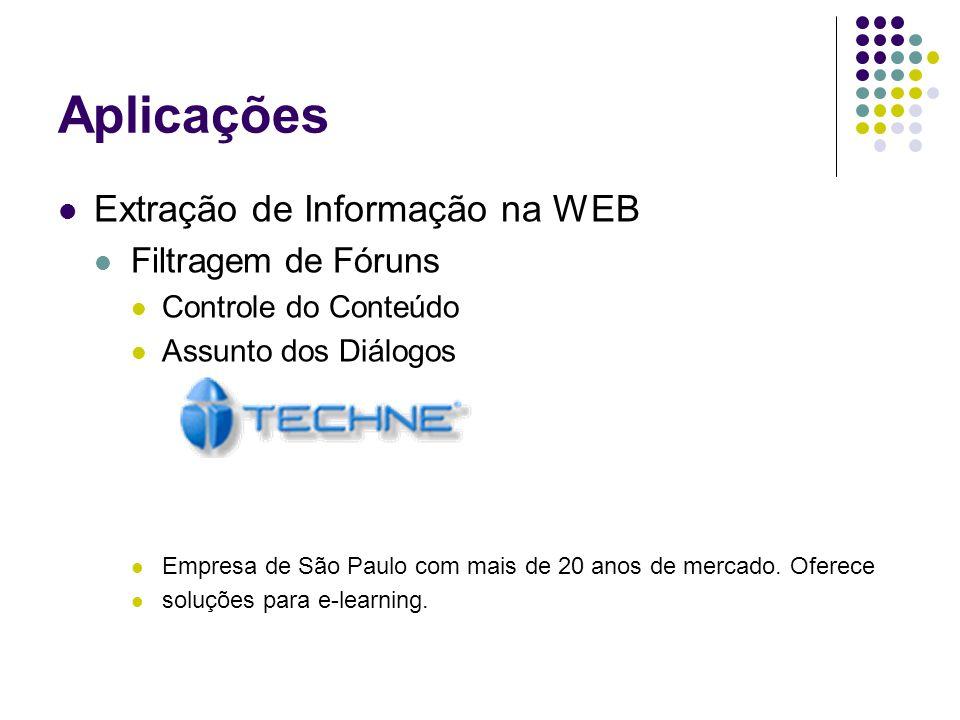 Extração de Informação na WEB Filtragem de Fóruns Controle do Conteúdo Assunto dos Diálogos Empresa de São Paulo com mais de 20 anos de mercado. Ofere