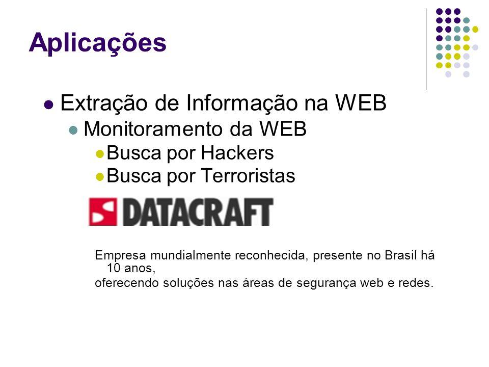 Extração de Informação na WEB Monitoramento da WEB Busca por Hackers Busca por Terroristas Empresa mundialmente reconhecida, presente no Brasil há 10