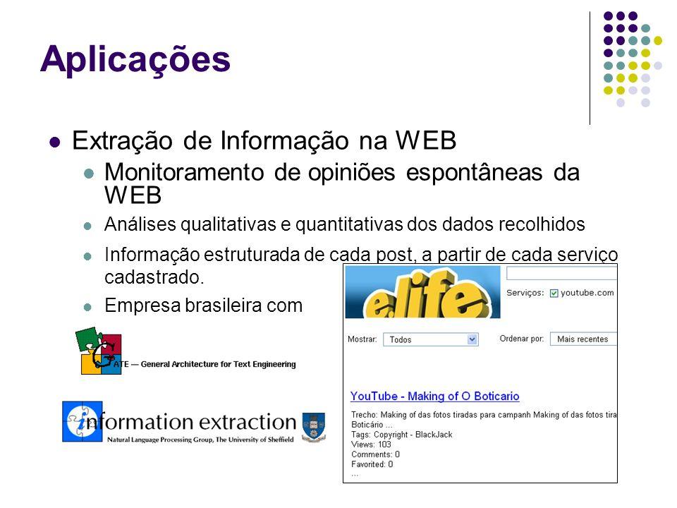 Extração de Informação na WEB Monitoramento de opiniões espontâneas da WEB Análises qualitativas e quantitativas dos dados recolhidos Informação estruturada de cada post, a partir de cada serviço cadastrado.