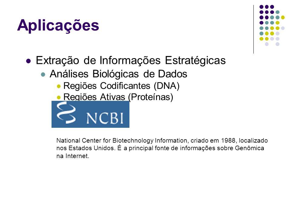 Extração de Informações Estratégicas Análises Biológicas de Dados Regiões Codificantes (DNA) Regiões Ativas (Proteínas) National Center for Biotechnology Information, criado em 1988, localizado nos Estados Unidos.