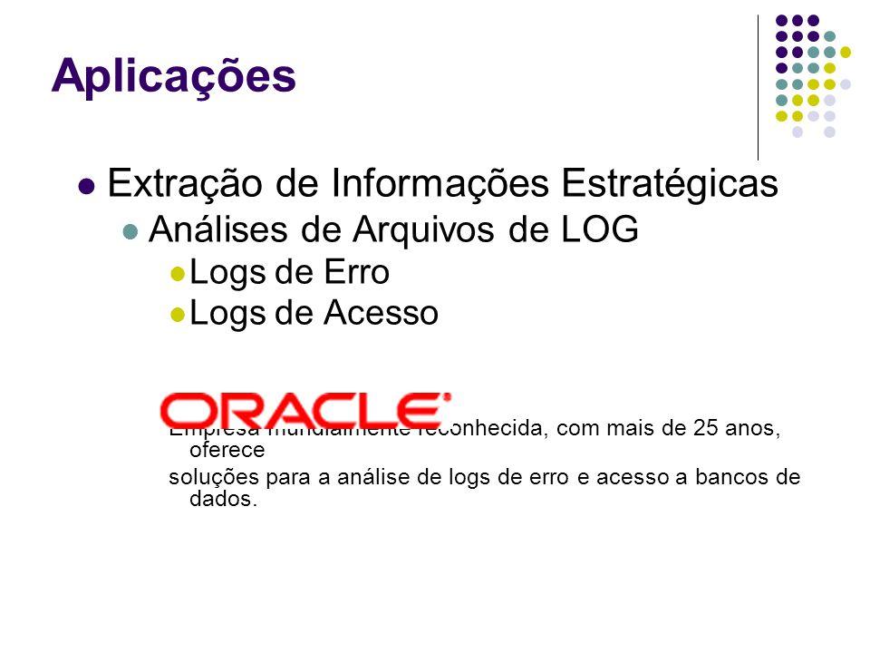 Extração de Informações Estratégicas Análises de Arquivos de LOG Logs de Erro Logs de Acesso Empresa mundialmente reconhecida, com mais de 25 anos, oferece soluções para a análise de logs de erro e acesso a bancos de dados.
