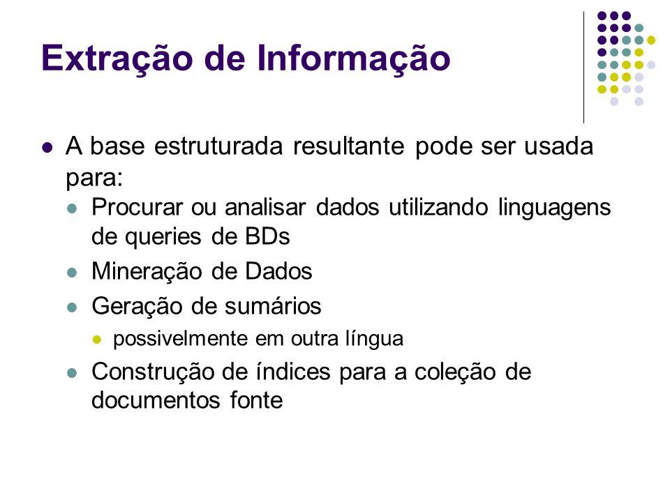 Extração de Informação A base estruturada resultante pode ser usada para: Procurar ou analisar dados utilizando linguagens de queries de BDs Mineração de Dados Geração de sumários possivelmente em outra língua Construção de índices para a coleção de documentos fonte