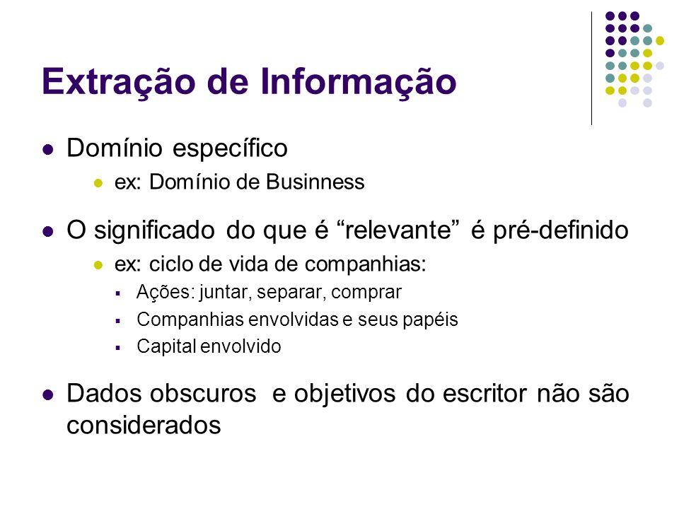 """Extração de Informação Domínio específico ex: Domínio de Businness O significado do que é """"relevante"""" é pré-definido ex: ciclo de vida de companhias:"""