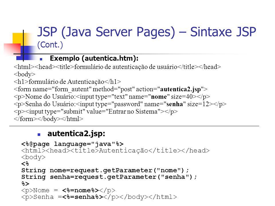 JSP (Java Server Pages) – Sintaxe JSP (Cont.) Exemplo (autentica.htm): formulário de autenticação de usuário formulário de Autenticação Nome do Usuári