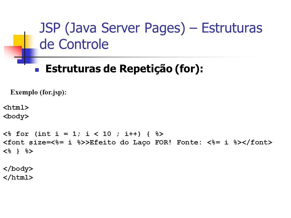 JSP (Java Server Pages) – Estruturas de Controle Estruturas de Repetição (for): Exemplo (for.jsp): >Efeito do Laço FOR! Fonte: