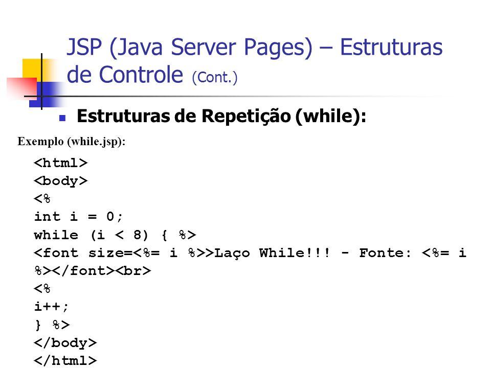 JSP (Java Server Pages) – Estruturas de Controle (Cont.) Estruturas de Repetição (while): Exemplo (while.jsp): >Laço While!!! - Fonte: