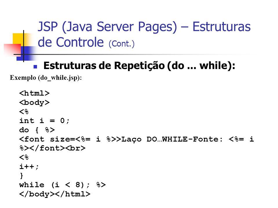 JSP (Java Server Pages) – Estruturas de Controle (Cont.) Estruturas de Repetição (do... while): Exemplo (do_while.jsp): >Laço DO…WHILE-Fonte: