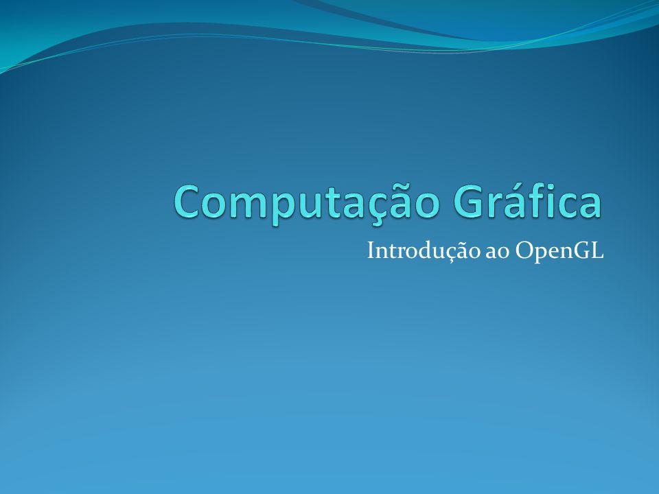 OpenGL Open Graphic Library Biblioteca de rotinas gráficas e modelagens bidimensional (2d) e tridimensional (3d) extremamente portável e rápida Incorpora diversos algoritmos otimizados para desenho de primitivas gráficas, mapeamento de texturas e efeitos especiais Gerenciado por um consórcio formado pelas principais empresas da área 3Dlabs, Apple Computer, NVIDIA, SGI e SUN Freqüentes revisões proporciona a incorporação das mais recentes técnicas e da evolução do hardware