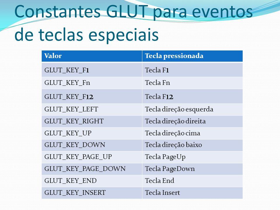 Constantes GLUT para eventos de teclas especiais ValorTecla pressionada GLUT_KEY_F 1 Tecla F 1 GLUT_KEY_FnTecla Fn GLUT_KEY_F 12 Tecla F 12 GLUT_KEY_L