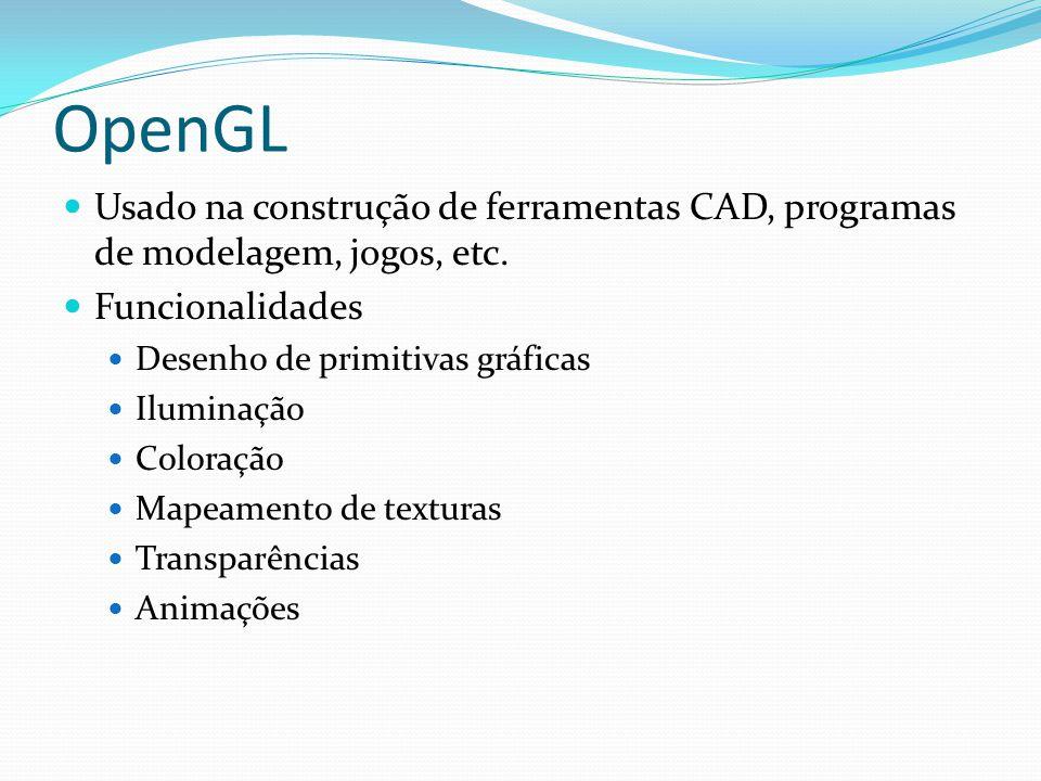 OpenGL Restrições As funcionalidades fornecidas pelo OpenGL são de baixo nível Não fornecem funcionalidades de gerenciamento de janelas Solução Extensão da OpenGL através de novas bibliotecas GLU (OpenGL Utility Library) Matrizes de projeção Orientação da visualização Desenho de superfícies quádricas GLUT (OpenGL Utility Toolkit) Criação de janelas e menus Gerenciamento de janelas e eventos