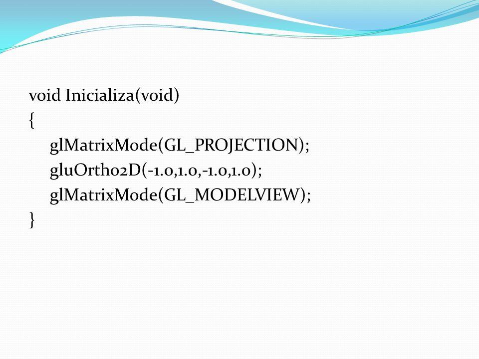 Tratamento de eventos void glutReshapeFunc(AlteraTamanhoTela) void (int largura, int altura); void glutSpecialFunc(TeclasEspeciais) void (int tecla, int x, int y); void glutMouseFunc(GerenciaMouse) void (int botao, int estado, int x, int y)