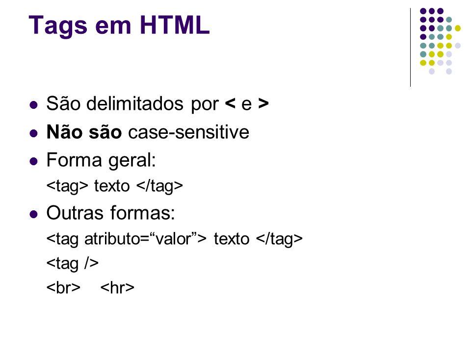 Tags em HTML São delimitados por Não são case-sensitive Forma geral: texto Outras formas: texto