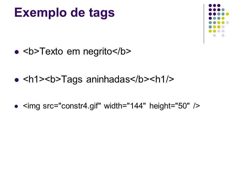 Exemplo de tags Texto em negrito Tags aninhadas