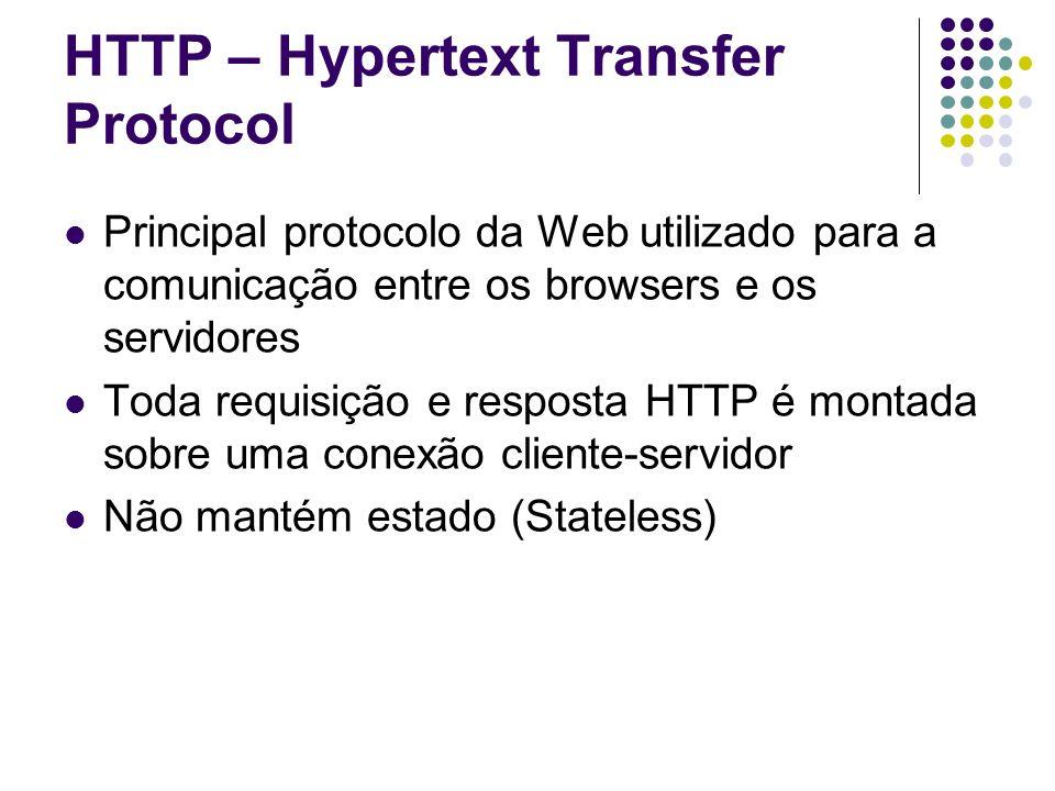 HTTP – Hypertext Transfer Protocol Principal protocolo da Web utilizado para a comunicação entre os browsers e os servidores Toda requisição e resposta HTTP é montada sobre uma conexão cliente-servidor Não mantém estado (Stateless)