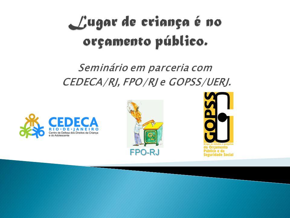 Seminário em parceria com CEDECA/RJ, FPO/RJ e GOPSS/UERJ. FPO-RJ