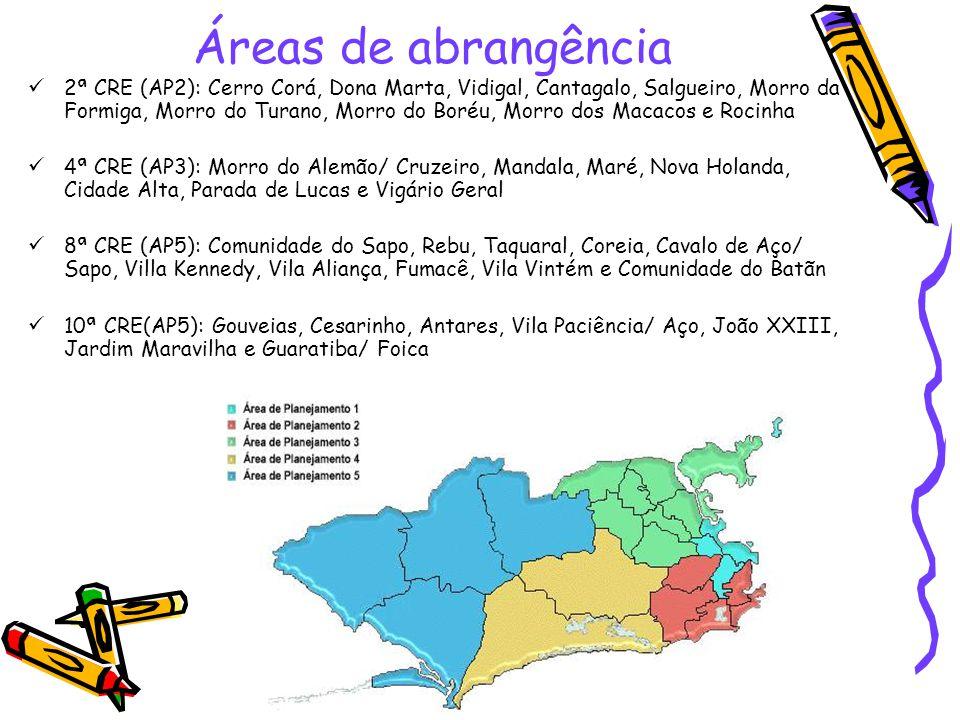 Áreas de abrangência 2ª CRE (AP2): Cerro Corá, Dona Marta, Vidigal, Cantagalo, Salgueiro, Morro da Formiga, Morro do Turano, Morro do Boréu, Morro dos