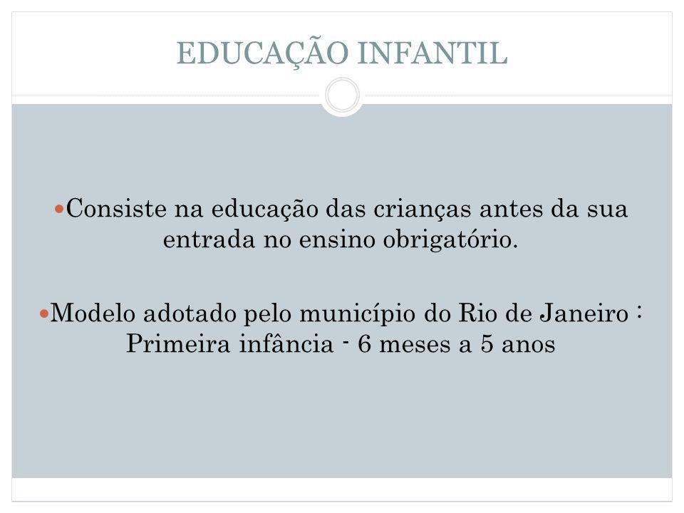 EDUCAÇÃO INFANTIL Consiste na educação das crianças antes da sua entrada no ensino obrigatório. Modelo adotado pelo município do Rio de Janeiro : Prim