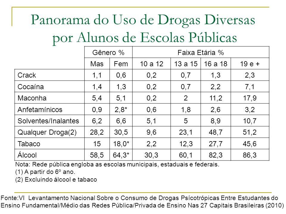 Panorama do Uso de Drogas Diversas por Alunos de Escolas Públicas Gênero %Faixa Etária % MasFem10 a 1213 a 1516 a 1819 e + Crack1,10,60,20,71,32,3 Coc