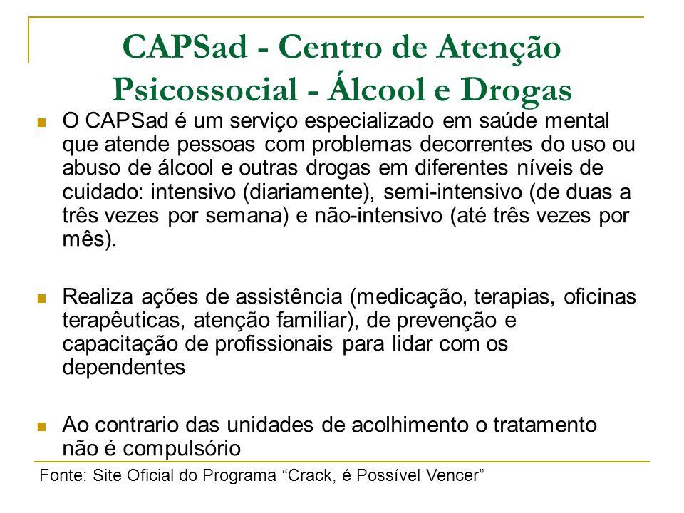 O CAPSad é um serviço especializado em saúde mental que atende pessoas com problemas decorrentes do uso ou abuso de álcool e outras drogas em diferent