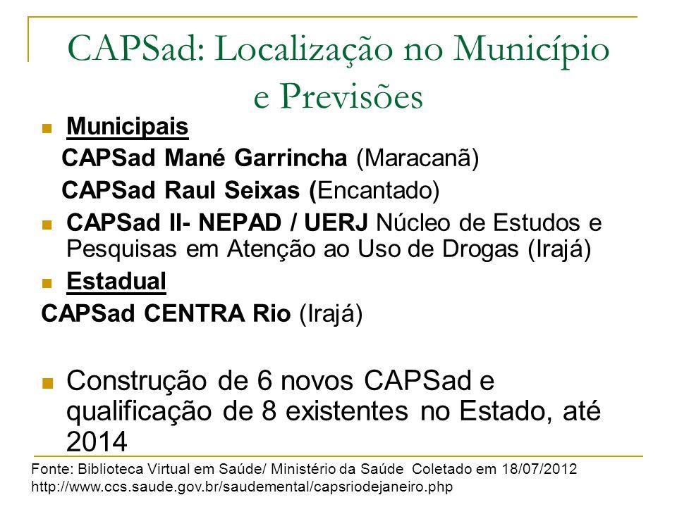 CAPSad: Localização no Município e Previsões Municipais CAPSad Mané Garrincha (Maracanã) CAPSad Raul Seixas (Encantado) CAPSad II- NEPAD / UERJ Núcleo