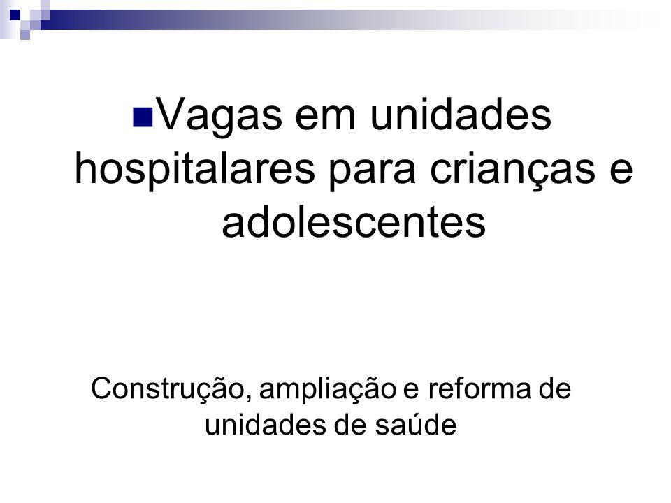 Construção, ampliação e reforma de unidades de saúde Vagas em unidades hospitalares para crianças e adolescentes