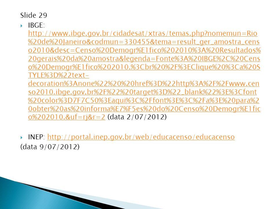 Slide 29  IBGE: http://www.ibge.gov.br/cidadesat/xtras/temas.php?nomemun=Rio %20de%20Janeiro&codmun=330455&tema=result_ger_amostra_cens o2010&desc=Ce
