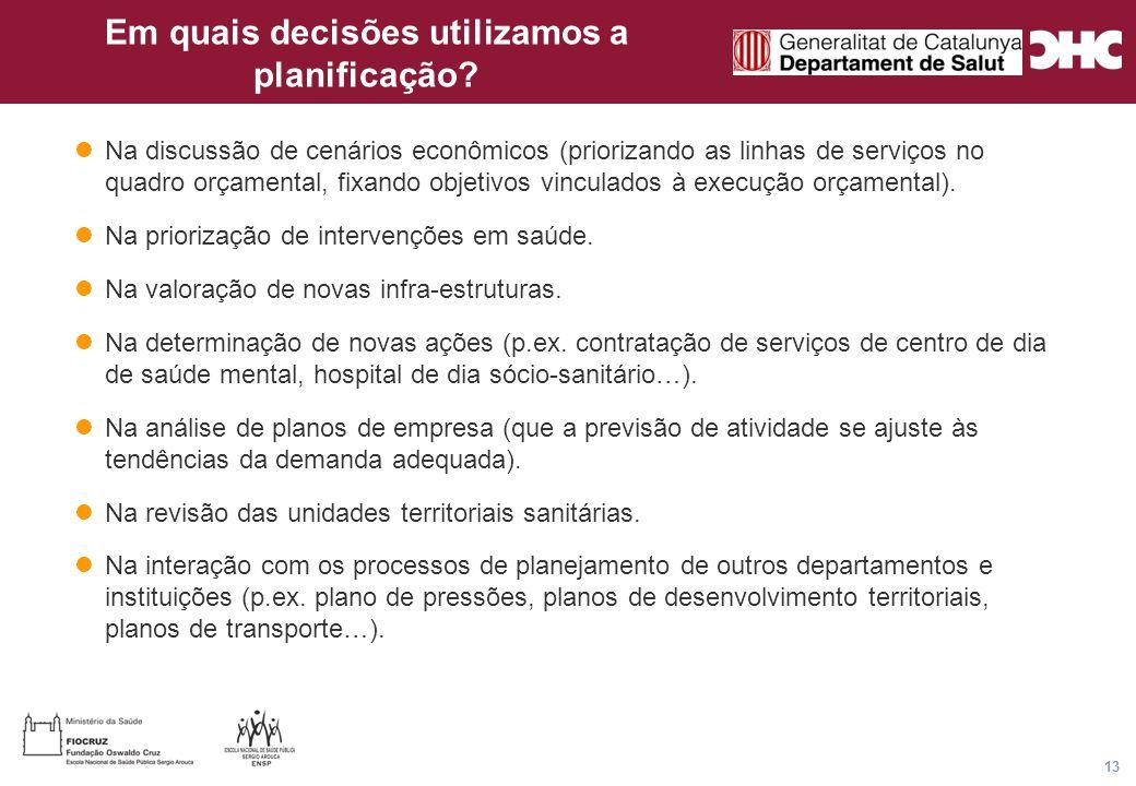 Título general da apresentação - CHC Consultoria e Gestão 13 Em quais decisões utilizamos a planificação.