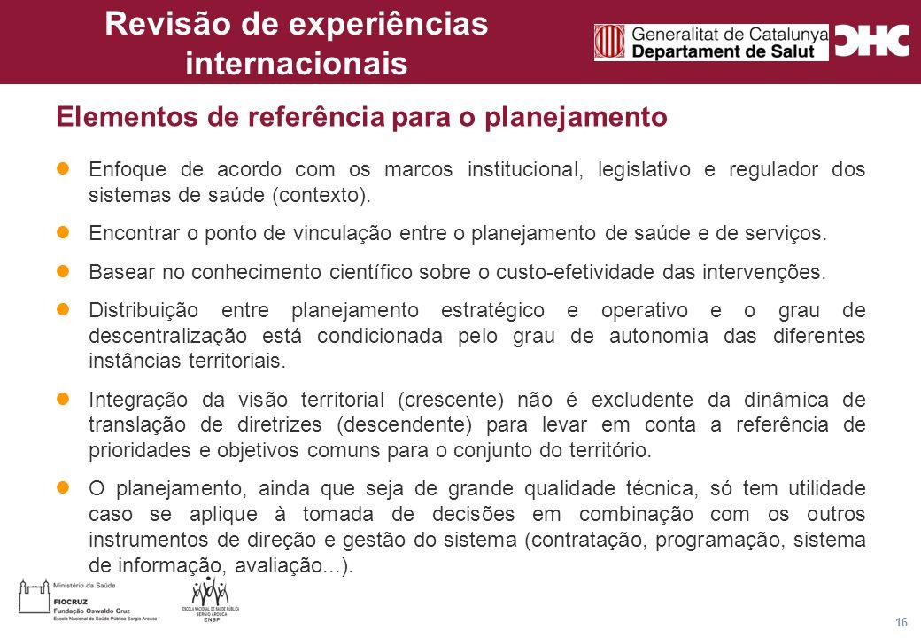 Título general da apresentação - CHC Consultoria e Gestão 16 Elementos de referência para o planejamento Enfoque de acordo com os marcos institucional, legislativo e regulador dos sistemas de saúde (contexto).
