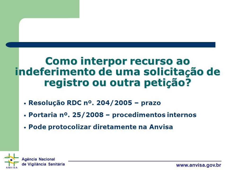 Agência Nacional de Vigilância Sanitária www.anvisa.gov.br Como interpor recurso ao indeferimento de uma solicita ç ão de registro ou outra peti ç ão.