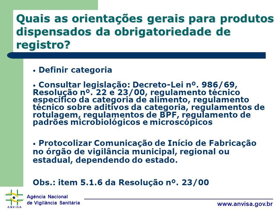 Agência Nacional de Vigilância Sanitária www.anvisa.gov.br Quais as orientações gerais para produtos dispensados da obrigatoriedade de registro.