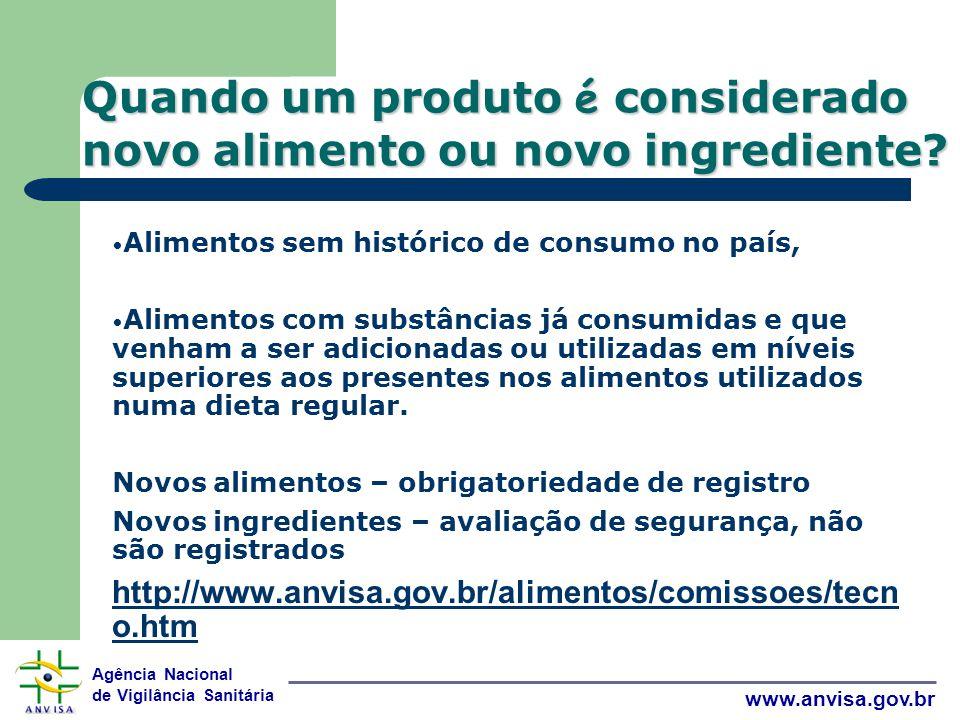 Agência Nacional de Vigilância Sanitária www.anvisa.gov.br Quando um produto é considerado novo alimento ou novo ingrediente.