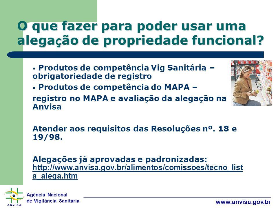 Agência Nacional de Vigilância Sanitária www.anvisa.gov.br O que fazer para poder usar uma alega ç ão de propriedade funcional.