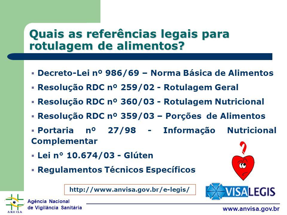 Agência Nacional de Vigilância Sanitária www.anvisa.gov.br Quais as referências legais para rotulagem de alimentos.