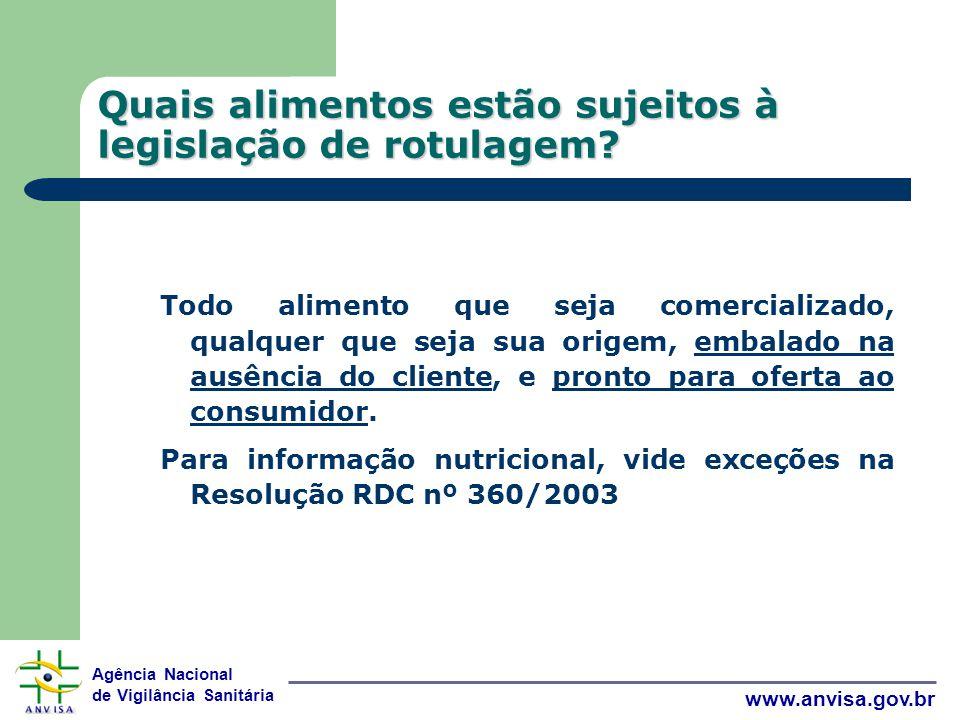 Agência Nacional de Vigilância Sanitária www.anvisa.gov.br Quais alimentos estão sujeitos à legislação de rotulagem.