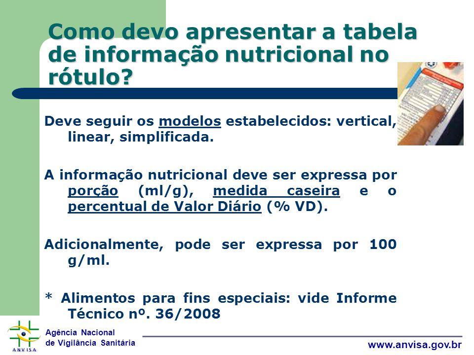 Agência Nacional de Vigilância Sanitária www.anvisa.gov.br Como devo apresentar a tabela de informação nutricional no rótulo.