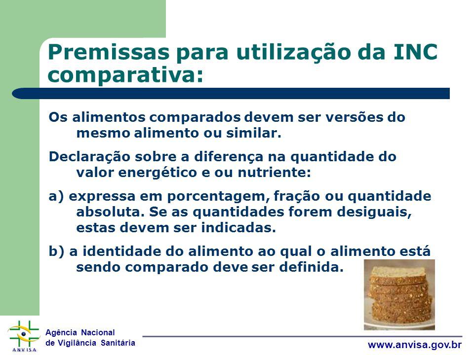 Agência Nacional de Vigilância Sanitária www.anvisa.gov.br Premissas para utilização da INC comparativa: Os alimentos comparados devem ser versões do mesmo alimento ou similar.