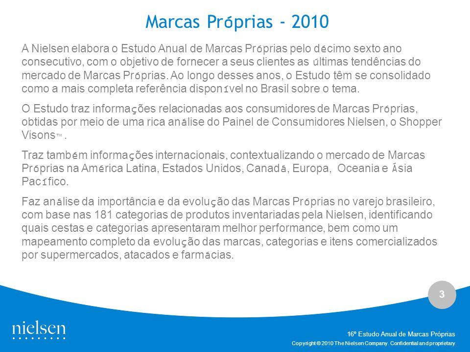 3 Copyright © 2010 The Nielsen Company. Confidential and proprietary. A Nielsen elabora o Estudo Anual de Marcas Próprias pelo décimo sexto ano consec