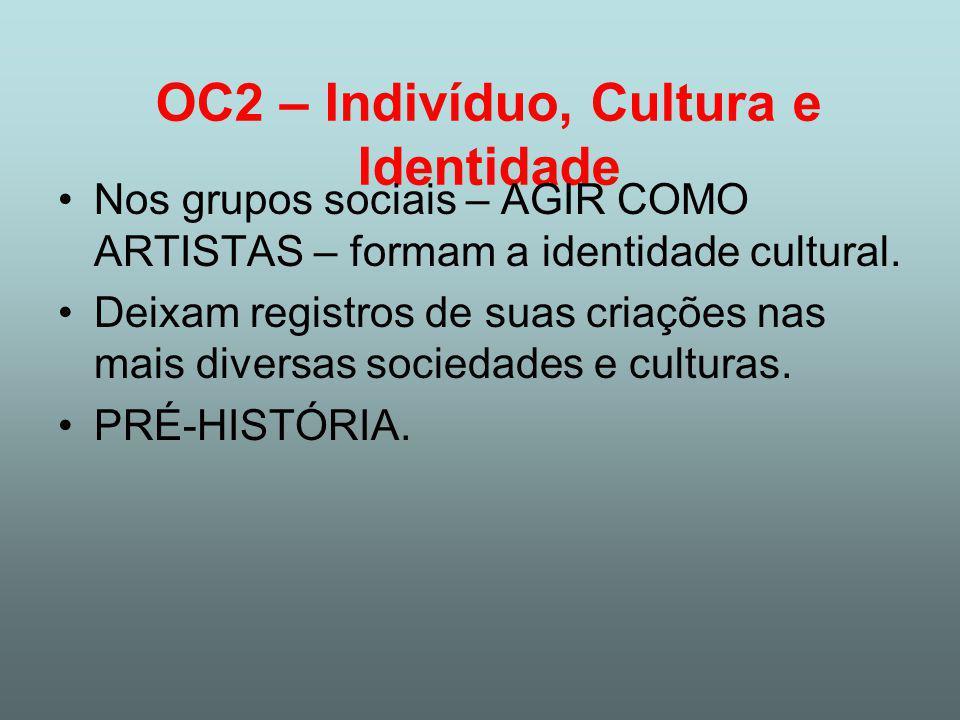 OC2 – Indivíduo, Cultura e Identidade Nos grupos sociais – AGIR COMO ARTISTAS – formam a identidade cultural.