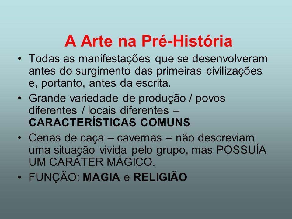 A Arte na Pré-História Todas as manifestações que se desenvolveram antes do surgimento das primeiras civilizações e, portanto, antes da escrita.