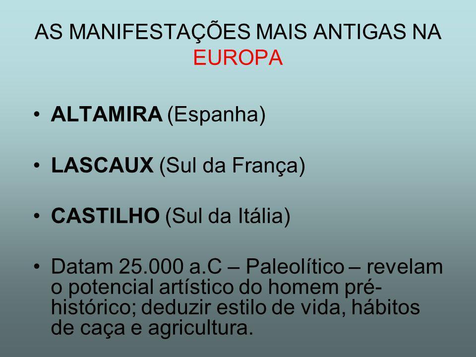 ALTAMIRA (Espanha) LASCAUX (Sul da França) CASTILHO (Sul da Itália) Datam 25.000 a.C – Paleolítico – revelam o potencial artístico do homem pré- histórico; deduzir estilo de vida, hábitos de caça e agricultura.
