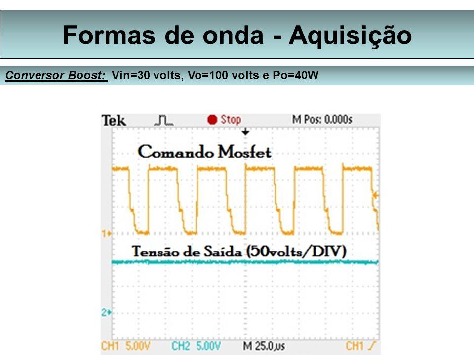 Formas de onda - Aquisição Conversor Boost: Vin=30 volts, Vo=100 volts e Po=40W
