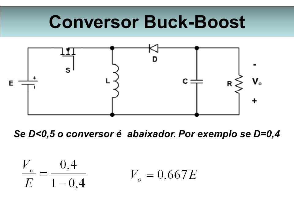 Conversor Buck-Boost Se D<0,5 o conversor é abaixador. Por exemplo se D=0,4