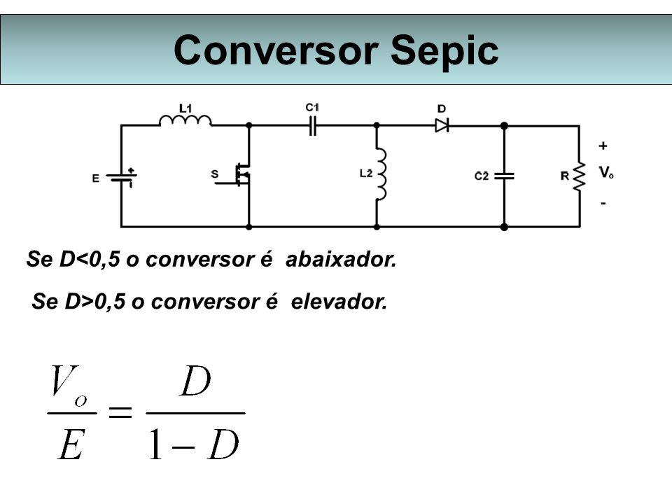 Conversor Sepic Se D<0,5 o conversor é abaixador. Se D>0,5 o conversor é elevador.