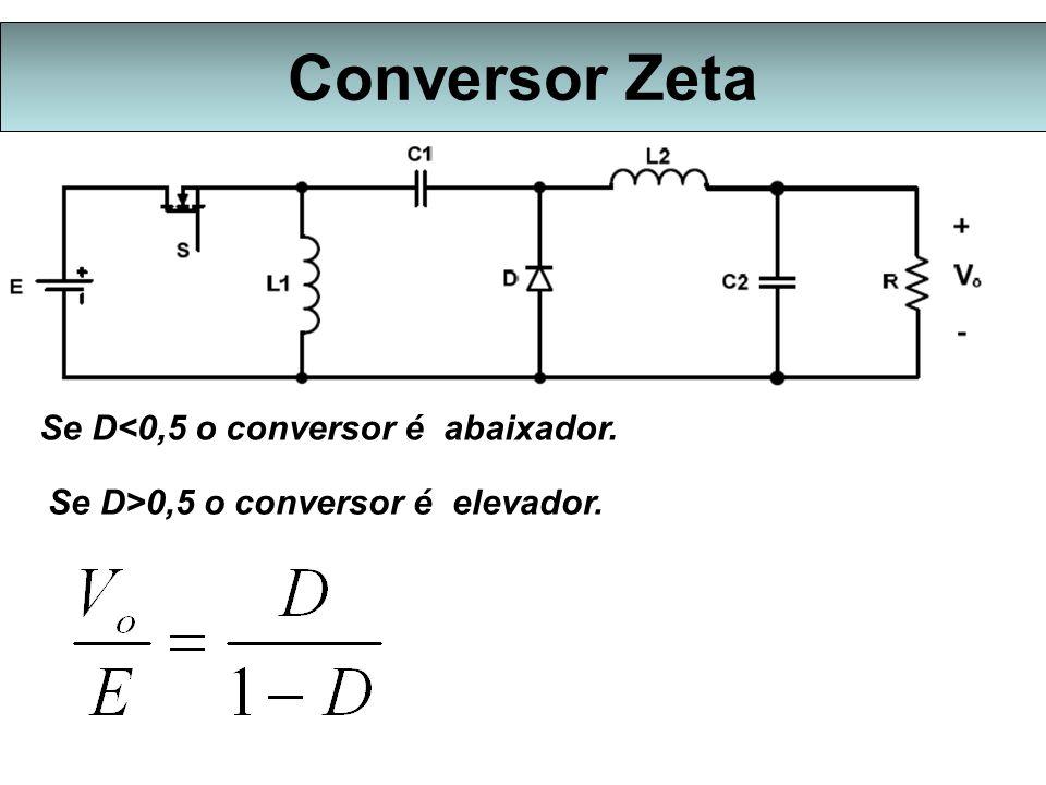 Conversor Zeta Se D<0,5 o conversor é abaixador. Se D>0,5 o conversor é elevador.