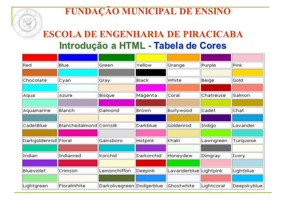 FUNDAÇÃO MUNICIPAL DE ENSINO ESCOLA DE ENGENHARIA DE PIRACICABA Introdução a HTML - Tabela de Cores