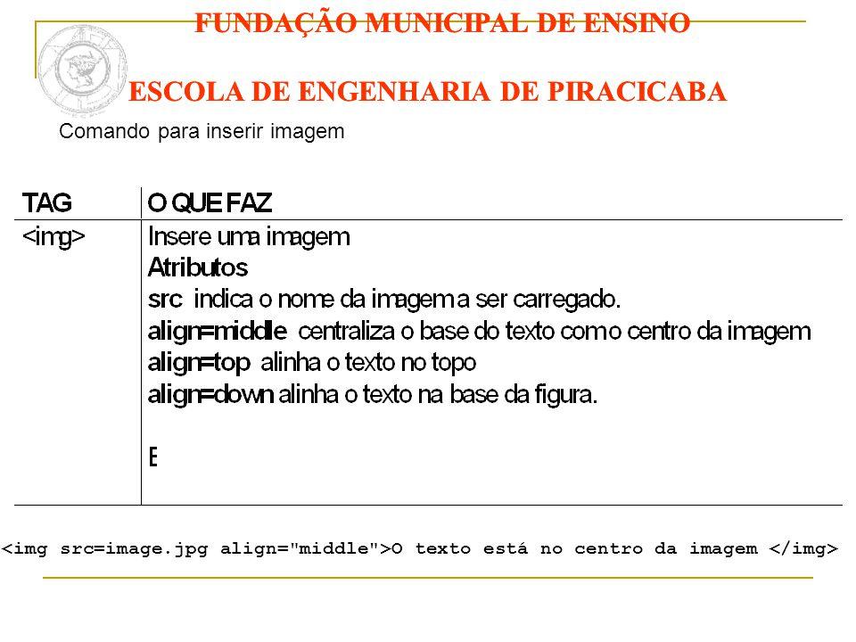 FUNDAÇÃO MUNICIPAL DE ENSINO ESCOLA DE ENGENHARIA DE PIRACICABA Comando para inserir imagem O texto está no centro da imagem FUNDAÇÃO MUNICIPAL DE ENS