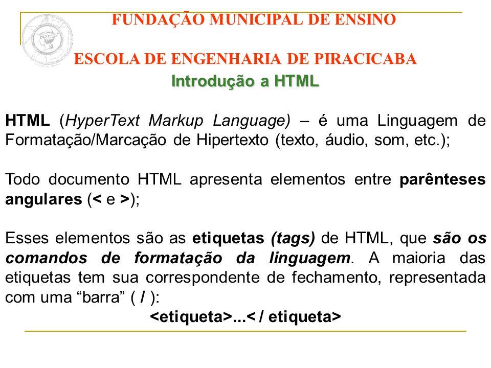 FUNDAÇÃO MUNICIPAL DE ENSINO ESCOLA DE ENGENHARIA DE PIRACICABA Introdução a HTML HTML (HyperText Markup Language) – é uma Linguagem de Formatação/Mar